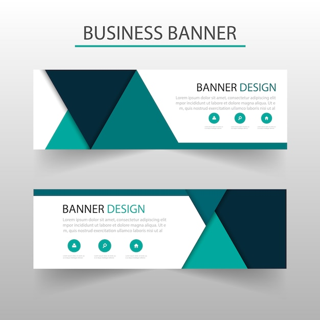 Banner template with turquoise triangles geometric style vector banner template with turquoise triangles geometric style free vector wajeb Image collections