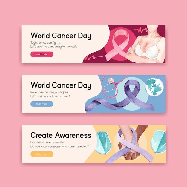 광고 및 마케팅 수채화 벡터 일러스트 레이 션에 대 한 세계 암의 날 컨셉 디자인 배너 템플릿. 무료 벡터