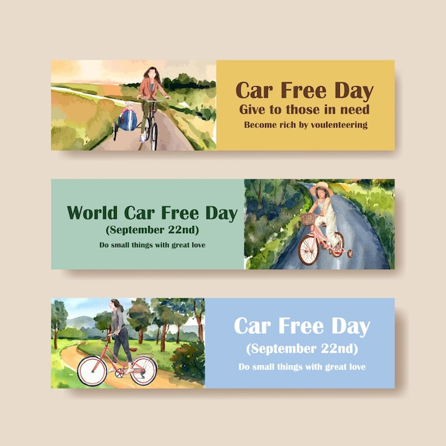 Banner template with world car free day concept design for advertise and brochure watercolor vector. Free Vector