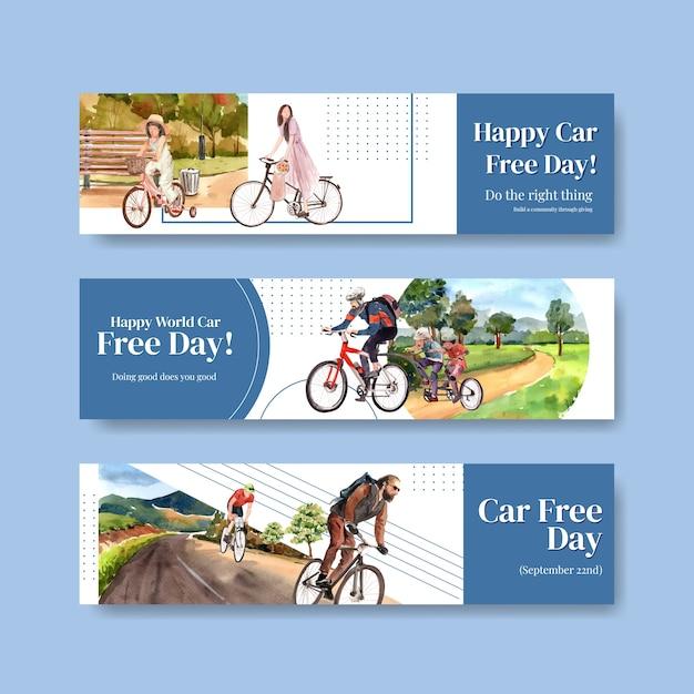 Modello di banner con concept design della giornata mondiale senza auto per pubblicità e brochure acquerello vettoriale. Vettore gratuito