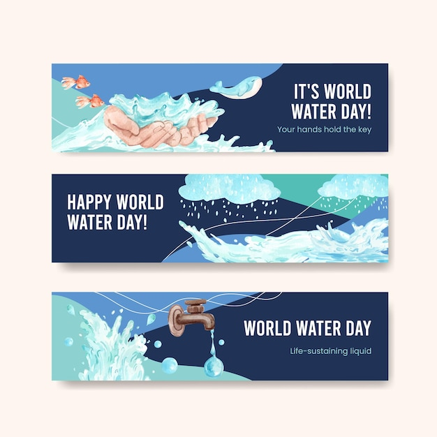 Banner template with world water day concept design for advertise and marketing watercolor illustration Free Vector