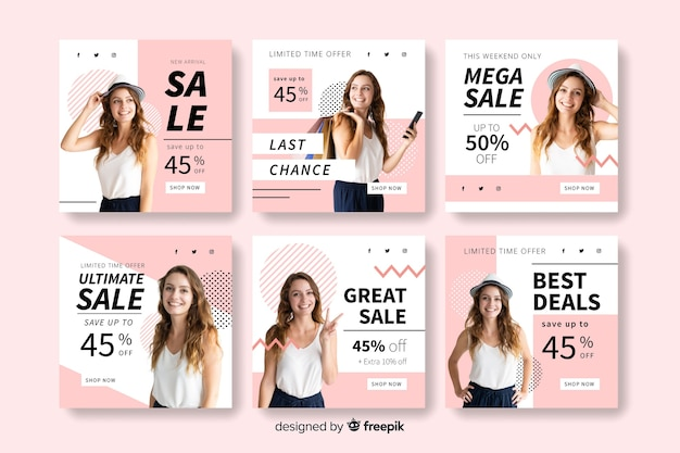 Banner templates for instagram posts Free Vector