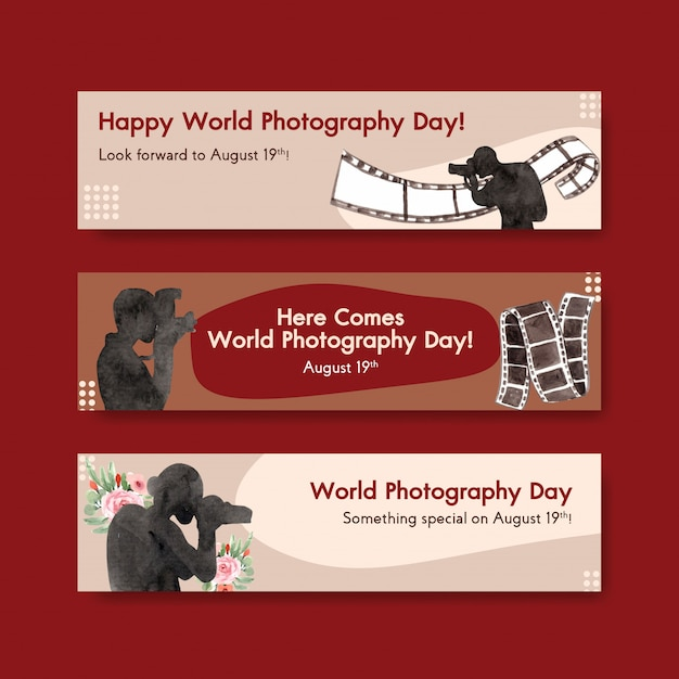 Banner templates for world photography day Free Vector