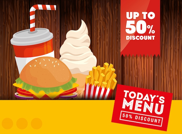 Banner of today menu fast food fifty discount Free Vector