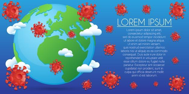 Баннер вирус фон. медицинский коронавирус emojis. редактируемый шаблон вирусной инфекции. Premium векторы