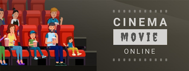 Banner for watching cinema movie online at home and on mobile vector illustration. film strip design flat style concept Premium Vector