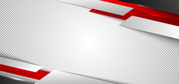 バナーウェブデザイン赤と白の幾何学的な白い背景 Premiumベクター