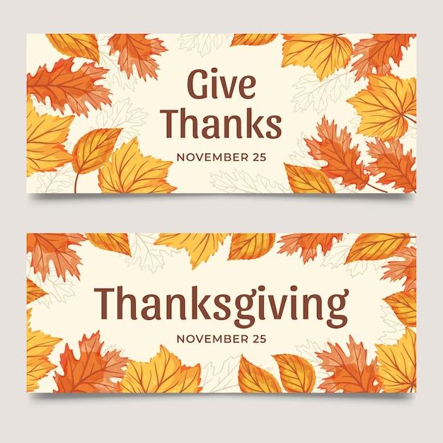 Banner web template ringraziamento foglie Vettore gratuito