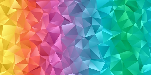 低ポリの虹色のデザインのバナー Premiumベクター