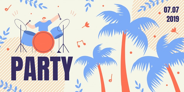 Banner with artist drummer playing on drums, flyer Premium Vector