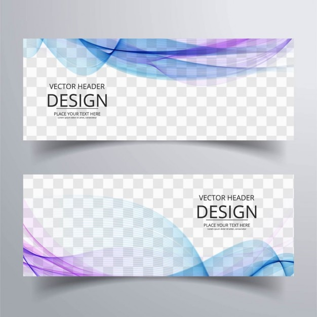 Banner with blue and purple wavy shapes Free Vector