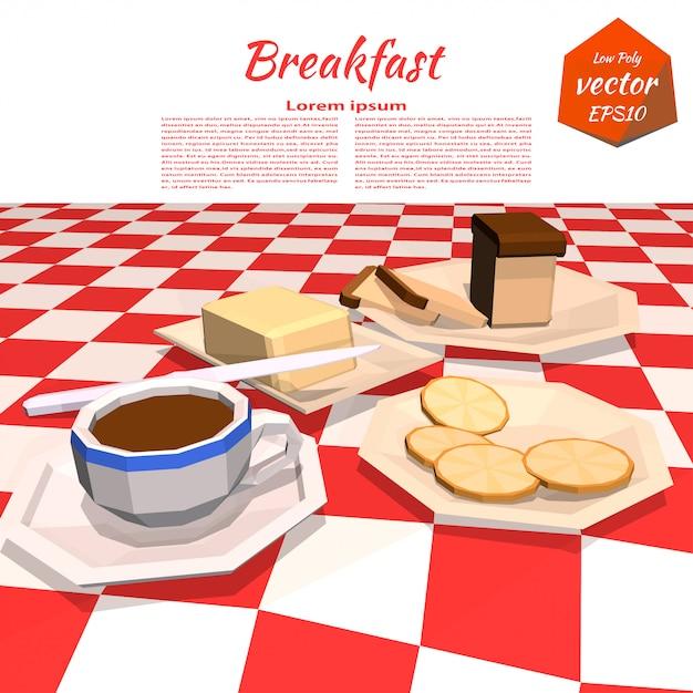 テーブルの上の朝食とバナーします。 Premiumベクター