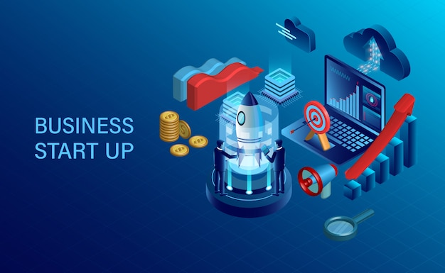 Banner with business start up Premium Vector