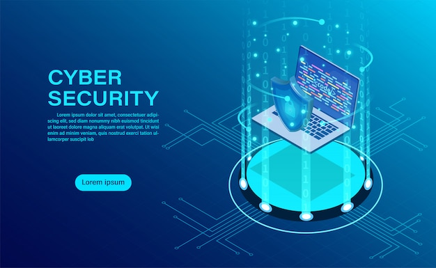 Banner with businessman protect data and confidentiality and data privacy protection concept Premium Vector