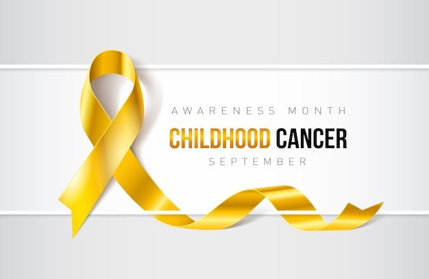 Banner with childhood cancer awareness realistic ribbon. design template for websites magazines Prem