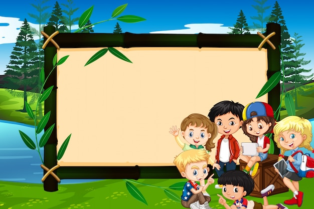 Banner with children in the park Free Vector