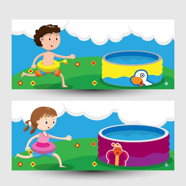 Banner with children playing in the swimming\ pool