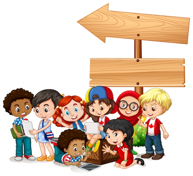 Banner with children with tablets Free Vector