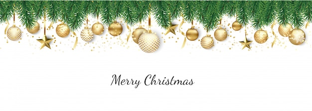 Banner with christmas balls and stars Premium Vector