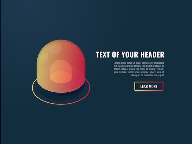 Banner with cool abnormal indicator, alert and attention page, red flasher Free Vector