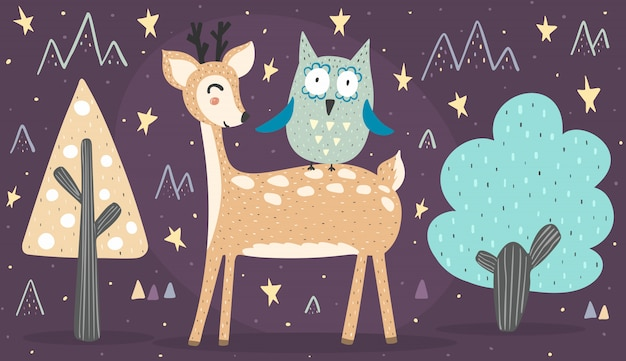 Banner with cute deer and owl. best friends illustration Premium Vector