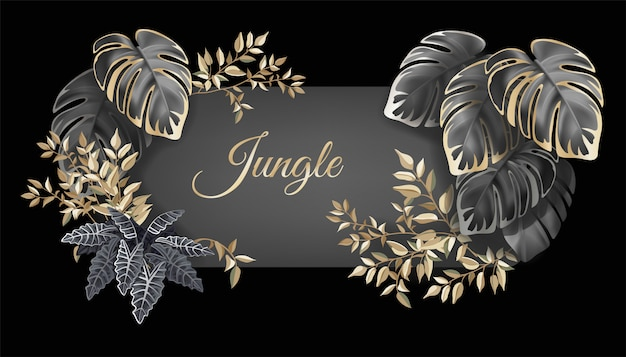 Banner with dark leaves palms and lianas. Free Vector