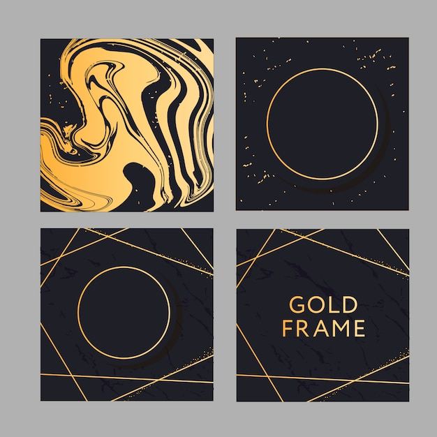 Banner with a design gold fashion vector art Premium Vector