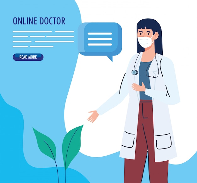 Banner with doctor female using face mask Free Vector
