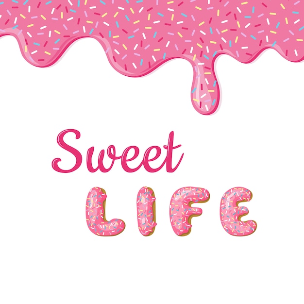 Banner with donut pink glaze and text. Premium Vector