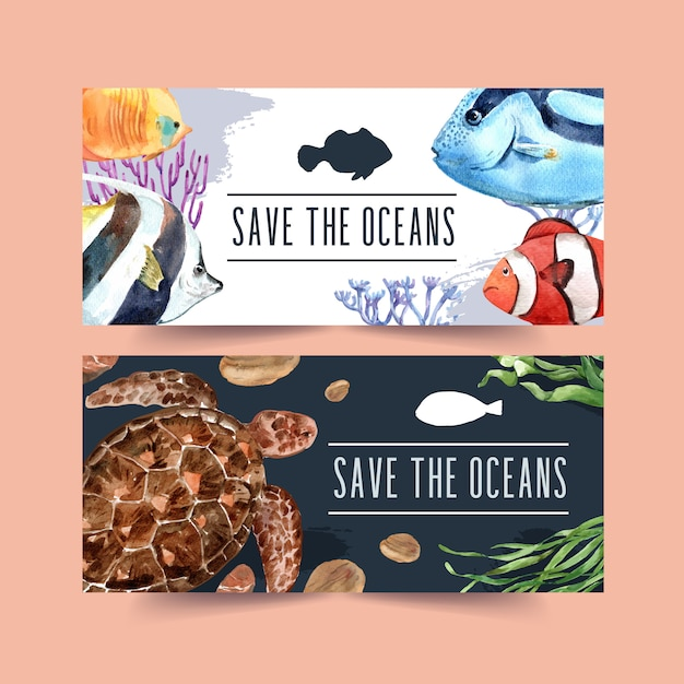 Banner with fish and turtle concept, contrast color illustration Free Vector