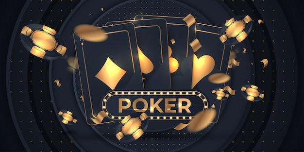 Banner with four aces and a several back side playing cards Premium Vector