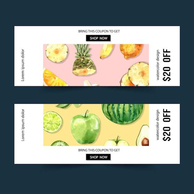 Banner with fruits theme, watermelon and apple watercolor illustration. Free Vector