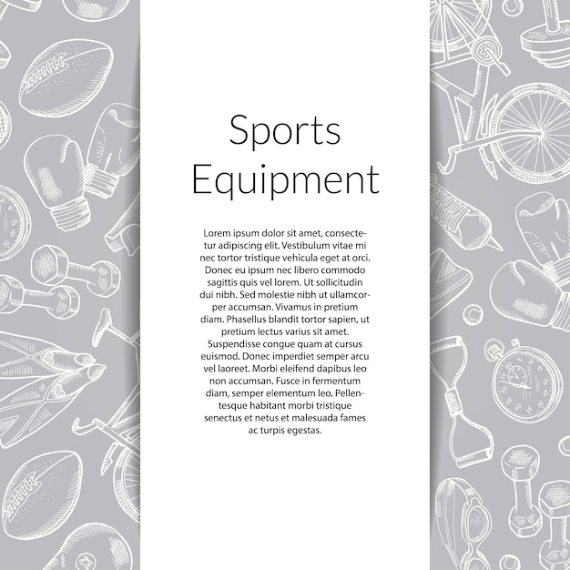 Banner with hand drawn sports equipment Premium Vector