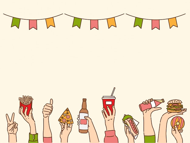Banner with hands holding drinks and snacks, party conceptual background Premium Vector