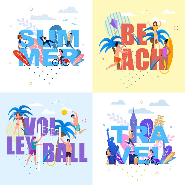 Banner with huge letters set in summertime theme Premium Vector