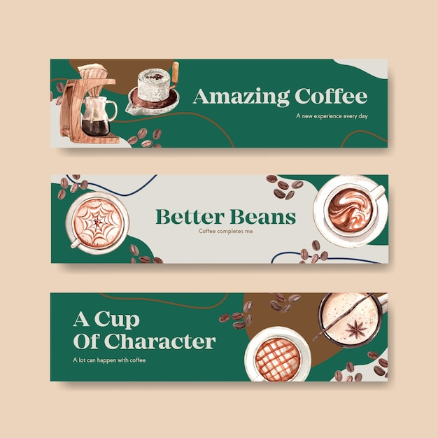 Banner with international coffee day concept design for advertise and marketing watercolor Free Vector