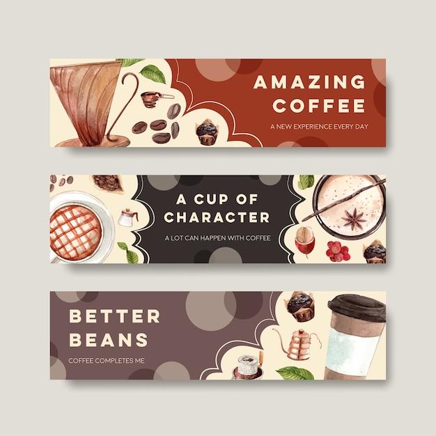 Баннер с концептуальным дизайном международного дня кофе для рекламы и маркетинговой акварели Бесплатные векторы