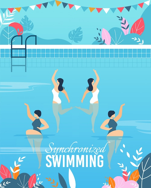 Banner with join synchronized swimming performance Premium Vector