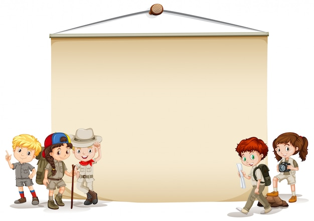 Banner with kids in outdoor costume Free Vector