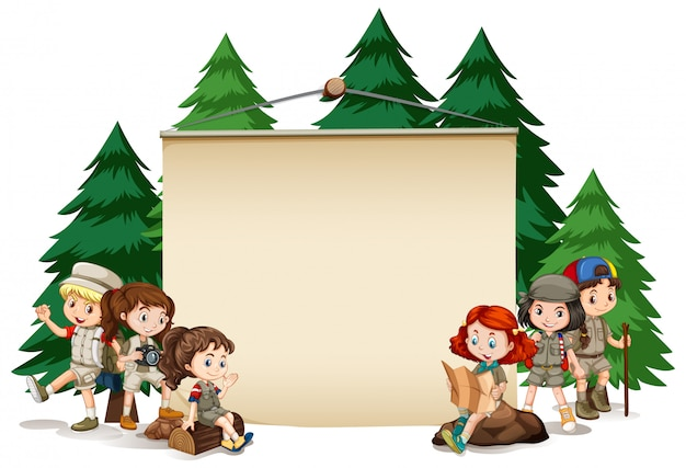 Banner with kids in outdoor outfit Free Vector