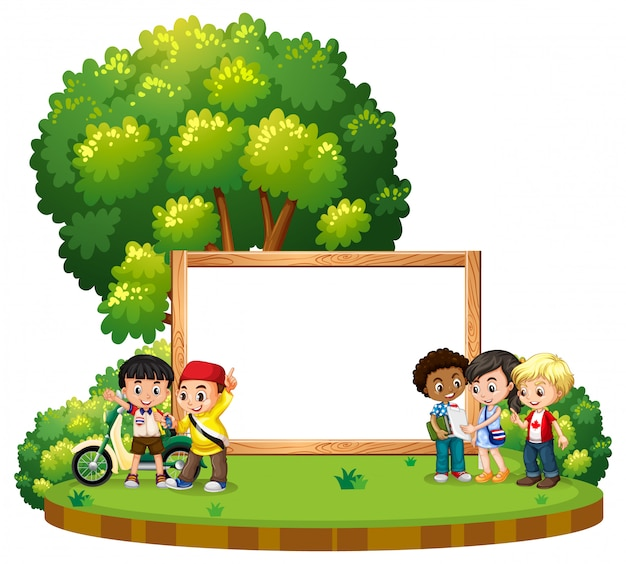 Banner with kids at the park Free Vector