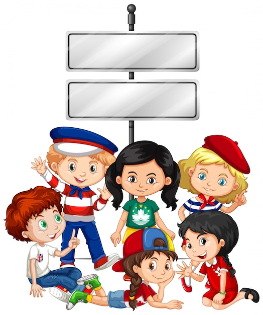 Banner with kids and sign Free Vector