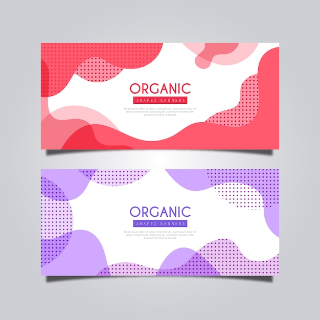Banner with liquid and abstract shapes Free Vector