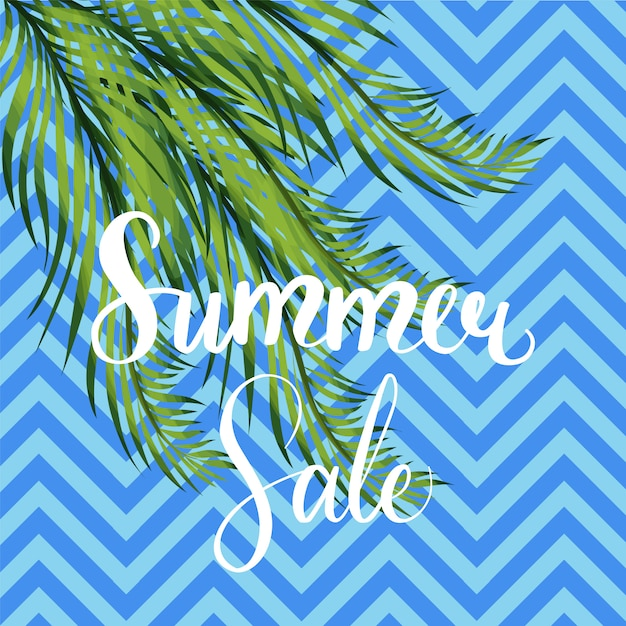 Banner with palm tree leaves. Premium Vector