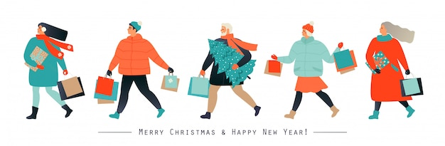 Banner with people hurrying for a great christmas sale. Premium Vector