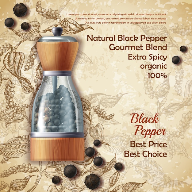 Banner with pepper mill, filled with black peppercorns on textured background Free Vector