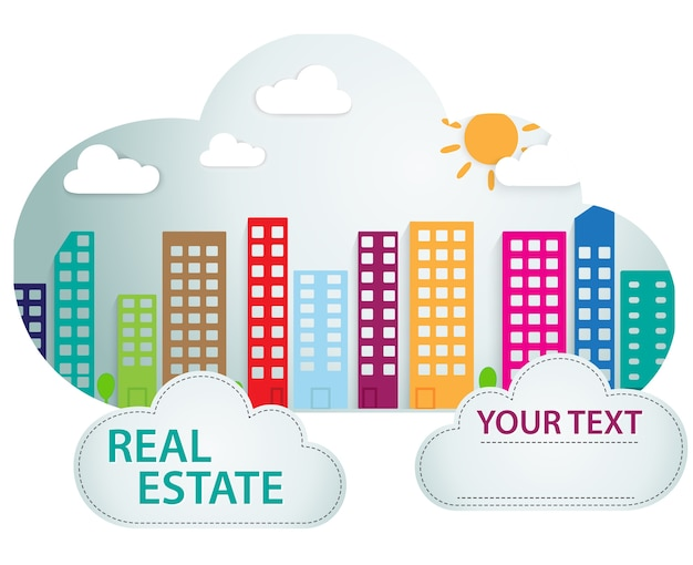 Banner with real estate in cloud Premium Vector