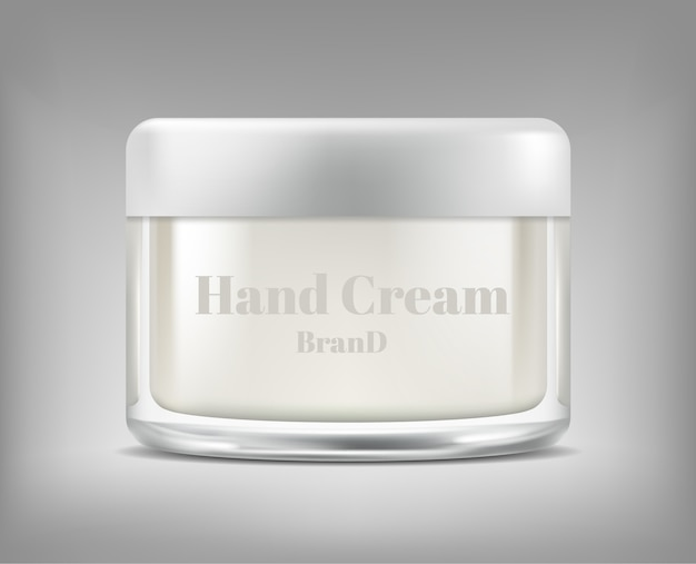 Banner with realistic glass jar of cosmetic cream, bottle with moisturising mask Free Vector