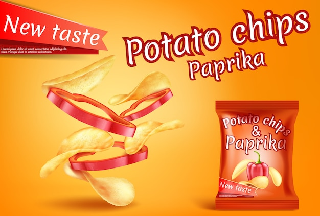 Banner with realistic potato chips and paprika slices. Free Vector