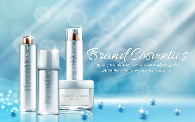 Banner with realistic set of bottles and jars for face mask, hand cream, body lotion Free Vector